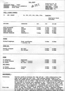 First unit call sheet, July 22, 1983