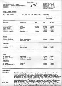 First unit call sheet, July 22, 1983