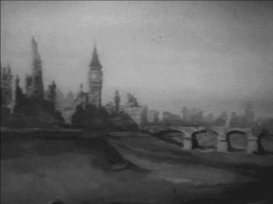 London's bleak future: a matte shot from the BBC's 1954 adaptation of Nineteen Eighty-Four