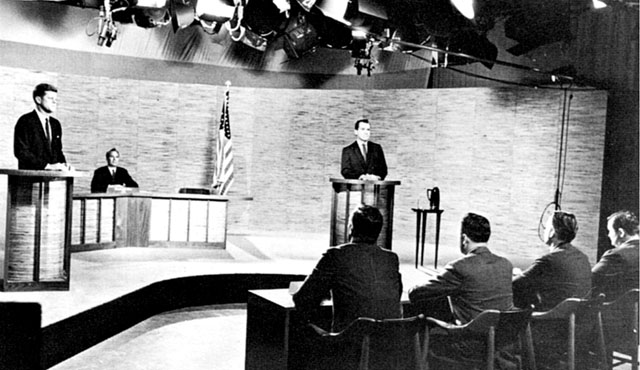 The ground-breaking Kennedy-Nixon televised debate, 1960