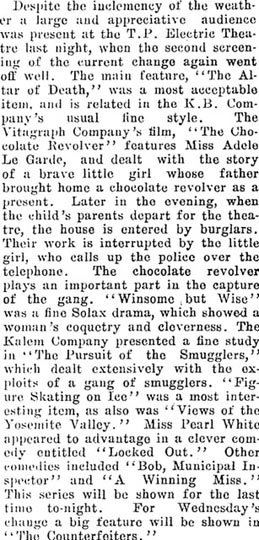 Review from Wairarapa Daily Times, New Zealand, August 26, 1913