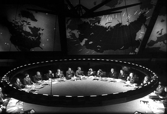 photo of the War Room in Stanley Kubrick's 1964 film Dr. Strangelove