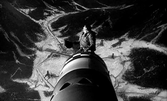 photo of Slim Pickens riding the bomb in Stanley Kubrick's 1964 film Dr. Strangelove