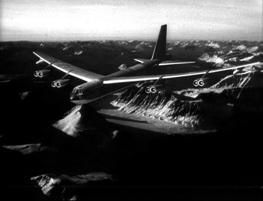 photo of B-52 bomber in flight in Stanley Kubrick's 1964 film Dr. Strangelove