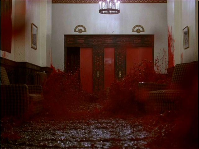 The elevator of blood: One of the two most famous images from Stanley Kubrick's The Shining (1980)