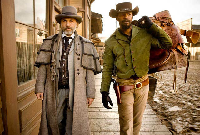 Bounty hunter and apprentice: Christoph Waltz and Jamie Foxx in Django Unchained