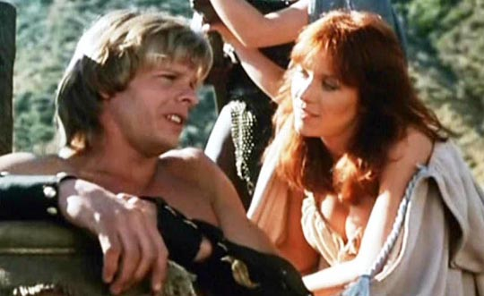 Mark Singer and Tanya Roberts in Don Coscarelli's The Beastmaster (1982)