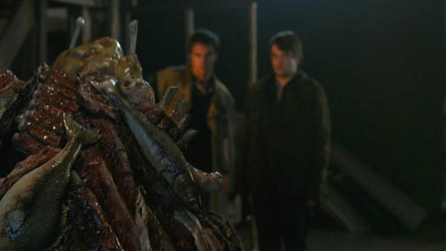 John (Rob Mayes) and David (Chase Williamson) confront a meat monster in John Dies At the End