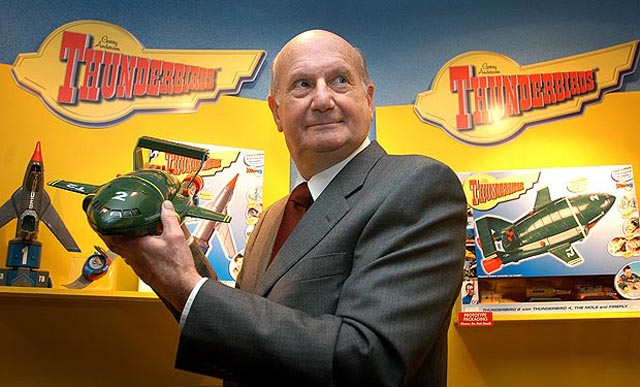 Gerry Anderson with his iconic creation: Thunderbird 2