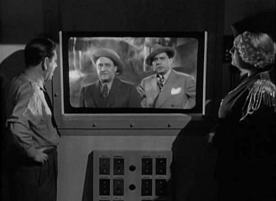 Ole & Chic talk to the projectionist, Louis (Shemp Howard)
