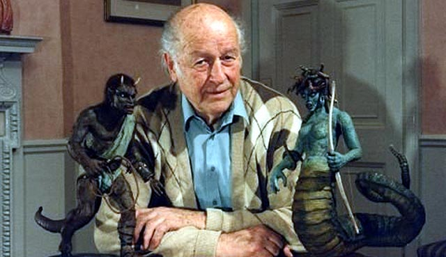 Ray Harryhausen with two of the characters from his final film, Clash of the Titans (1981)