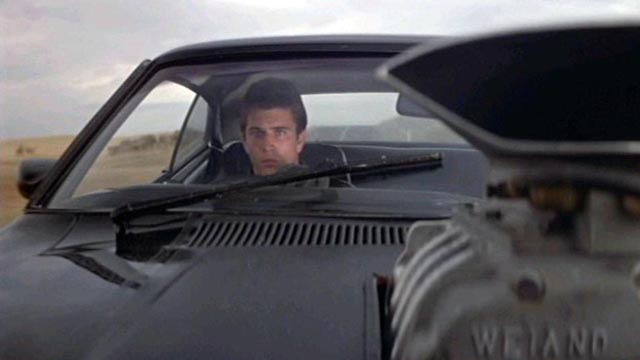 Mel Gibson at the wheel of his V8 Interceptor in Mad Max (1979)