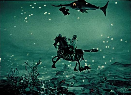 Baron Prasil's adventures take him from the moon to the depths of the sea in Karel Zeman's version of Munchausen (1962)