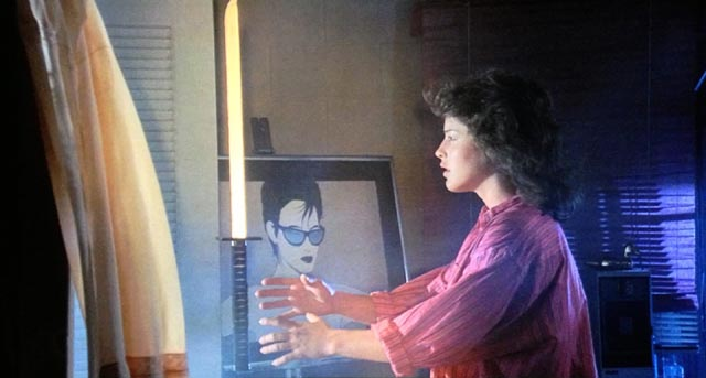 Lucinda Dickey as lineman Christie, acquiring unwanted powers in Ninja III: The Domination (1984)