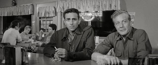 Frankie Chardo (Steven Ritch) and Eddie Harris (Gene Raymond): life is a cursed highway in Hubert Cornfield's Plunder Road (1957)