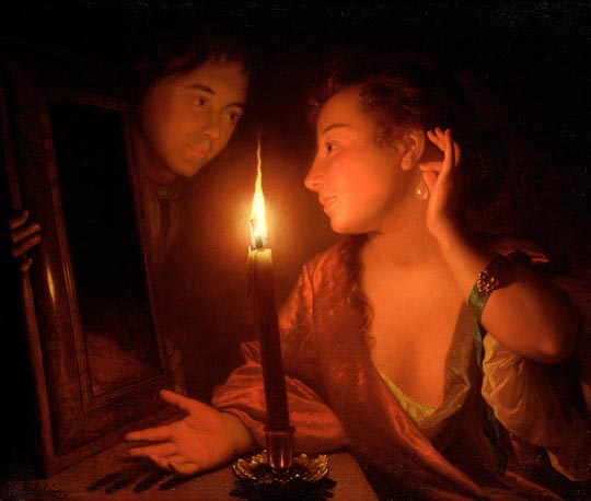 A Lady Admiring an Earring by Candlelight: Godfried Schalcken Below: the painting invented by LeFanu