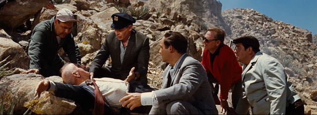 Jonathan Winters, Milton Berle, Sid Caesar, Mickey Rooney and Buddy Hackett get a clue from dying Jimmy Durante in the opening scene of Stanley Kramer's It's a Mad, Mad, Mad, Mad World (1963)