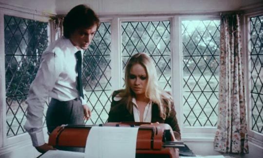 Writer Paul Martin (Udo Kier) with new secretary Linda (Linda Hayden)