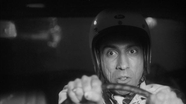 Sid Haig as crazy driver Hawk Sidney in Jack Hill's morality play Pit Stop (1969)