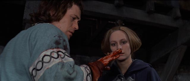 Macbeth (Jon Finch) and Lady Macbeth (Francesca Annis) entranced by their own act of violence in Roman Polanski's The Tragedy of Macbeth (1971)
