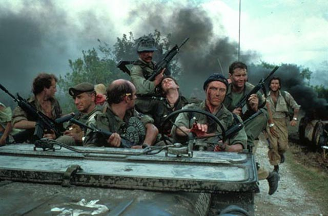 Christopher Walken and his mercenary crew abandoning a job at the start of John Irvin's The Dogs of War (1980)