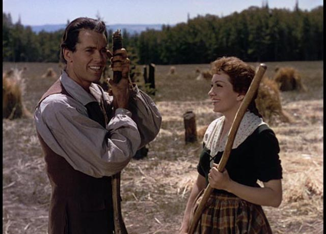 Henry Fonda and Claudette Colbert homesteading in Revolutionary America in John Ford's Drums Along the Mohawk (1939)