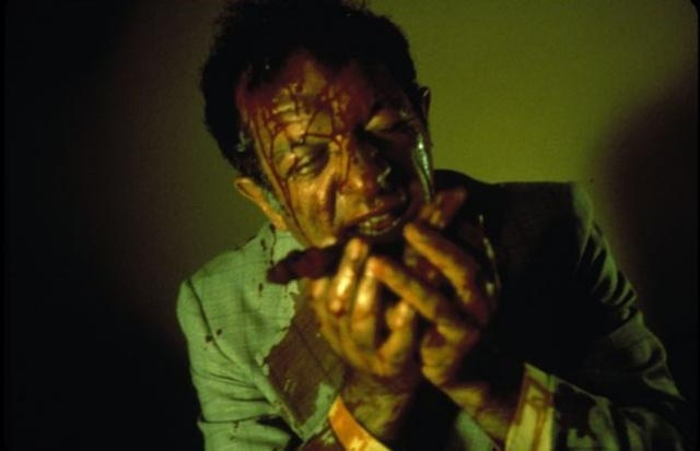 Joe Silver gets up close with the venereal parasites in David Cronenberg's Shivers (1975)