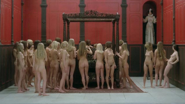 Erzsebet Bathory (Paloma Picasso) surveys the virgins in whose blood she intends to bathe in Borowczyk's Immoral Tales