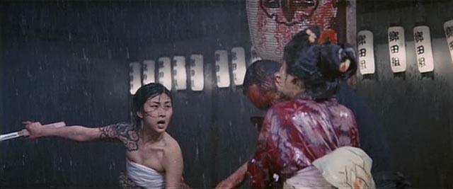 Meiko Kaji as gang boss Akemi, striking the fateful blow in Teruo Ishii's Blind Woman's Curse (1970)