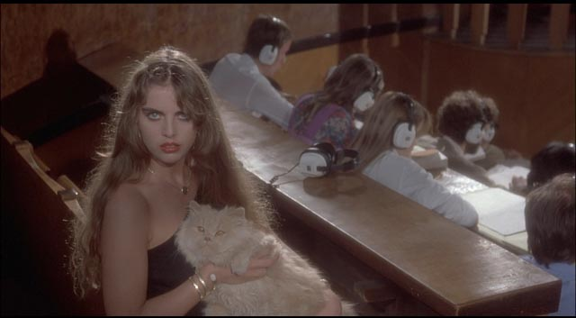 Ania Pieroni as a mysterious student offering a silent warning to Mark in Argento's Inferno