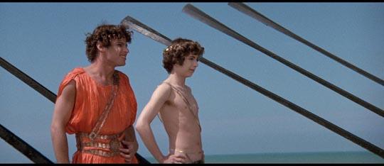 Ascyltus Hiram Keller) and Giton (Max Born) on Lica's ship