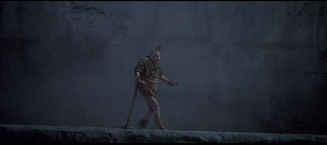 The actor Vernacchio (Fanfulla) struts the stage like an alien lifeform in Fellini Satyricon (1969)