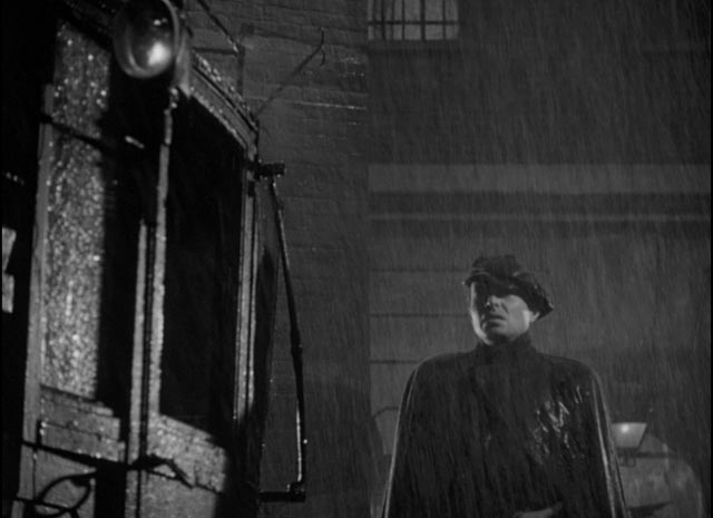 Johnny McQueen (James Mason) battered by the elements in Odd Man Out
