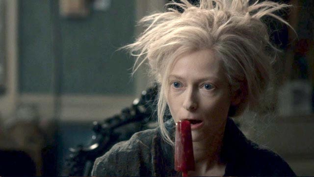 The other-worldly Tilda Swinton enjoys a bloodsicle in Only Lovers Left Alive