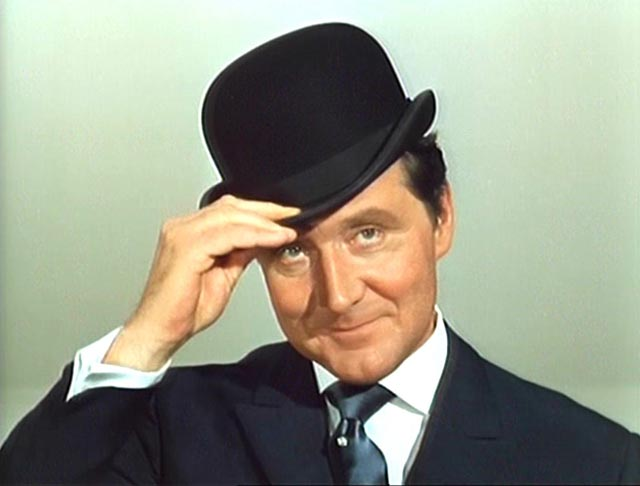 Patrick Macnee as debonair secret agent John Steed in the classic TV show The Avengers