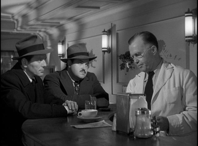 Charles McGraw and William Conrad as the sarcastic hitmen in Robert Siodmak's Hemingway adaptation, The Killers (1946)