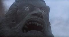 The great stone head of the god Zardoz in John Boorman's imaginative SF masterpiece