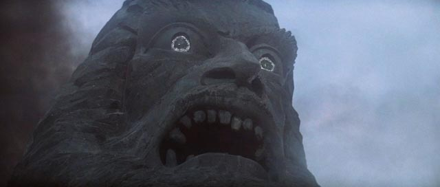 The great stone head of the god Zardoz in John Boorman's imaginative SF masterpiece