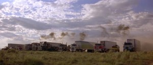 Sam Peckinpah tries to instill a mythic quality in the trucks of Convoy (1978)