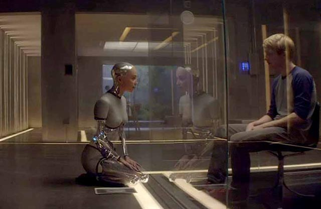 Alicia Vikander as Ava and Domhnall Gleeson as Caleb in Alex Garland's Ex Machina