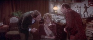 Holmes (Robert Stephens) and Watson (Colin Blakely) with the traumatized Gabrielle Valladon (Genevieve Page) in Billy Wilder's Private Life of Sherlock Holmes