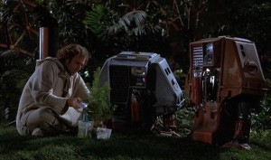 Freeman Lowell (Bruce Dern) with two of the drones in Douglas Trumbull's Silent Running (1972)