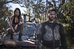 Brooke (Bianca Bradey) and her brother Barry (Jay Gallagher) in the zombie road movie Wyrmwood (2014)