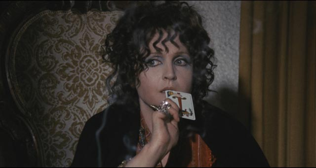 Laura Betti as Anna, a woman whose psychic abilities are not enough to save her in Mario Bava's Bay of Blood (1971)