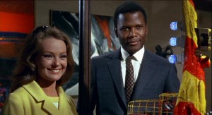 Katherine Houghton and Sidney Poitier as the interracial couple in Guess Who's Coming to Dinner