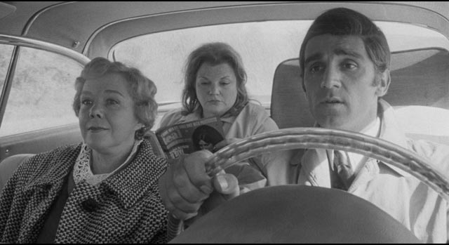 """Brother and sister"" Ray and Martha driving Janet Fay (Mary Jane Higby) to their New York home in The Honeymoon Killers (1969)"