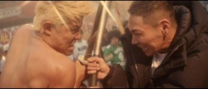 Gang leaders clash in Sion Sono's futuristic hip-hop musical action movie Tokyo Tribe (2014)