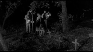 Grandma Peters shows her visitors where they're bound to end up if they keep looking for the cursed jewels in Edward L. Cahn's Zombies of Mora Tau (1957)