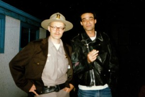 On the set of Paul Shapiro's Heads (1994) with Earl Pastko, who had played the devilish Mr. Skin in Bruce McDonald's Highway 61 a few years earlier