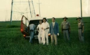 Continuity Polaroid from the final sequence of Paul Shapiro's Heads (1994), shot beside the mosquito-ridden Red River floodway just north of Winnipeg: that's me on the right